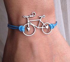 Ocean Blue Cord with Silver  Retro Bicycle charm por pier7craft, $6.50