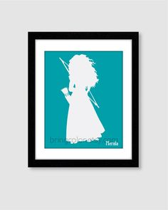 Princess Merida Silhouette Wall Art Print 8X10 for by BringColor