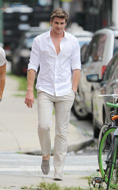 for the boys: light beige coloured khakis, white shirt, loafers