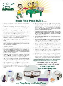 Free Table Tennis (Ping-Pong®) Rules Poster