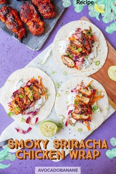 Smoky Sriracha Chicken Wrap - AvocadoBanane Chicken Wraps, Spicy Chicken Wrap, Chicken Wrap Recipes, Tortilla Wraps, Tortillas, Best Bbq Recipes, Avocado, Food Porn, Banana