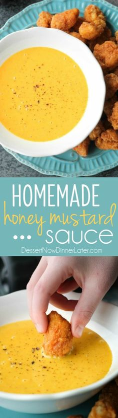 Homemade Honey Mustard Sauce is so easy to make! The perfect dip for chicken, corn dogs, and more!