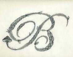 Letter B Pencil Drawing Print. $34.00, via Etsy.