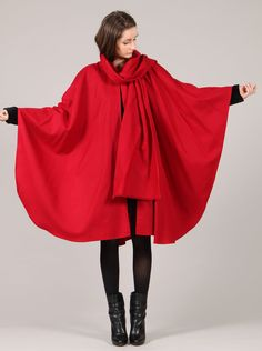 red wool cape / shop collect