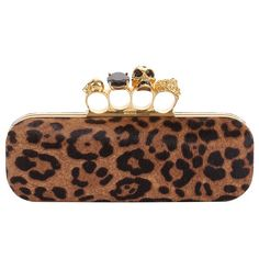 Leopard pony long knuckle box clutch with Swarovski crystal ring clasp. OH MY, this is so you @Ayla Mitchell (without the skull ring though) !!