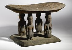 Africa | Yoruba male and female Caryatid Stool, Benin. c. prior to 1970s