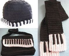 Piano theme hat, scarf and messenger bag pattern from Etsy