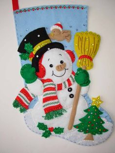 Made from a hard-to-find Bucilla kit, this stocking measures from hanger to toe. NAME EMBROIDERED FREE OF CHARGE. Christmas Decorations, Christmas Ornaments, Holiday Decor, Snowman Crafts, Hand Sewing, Christmas Stockings, Random, Handmade, Stuff To Buy
