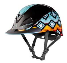 This Troxel Fallon Taylor Sunset Serape Helmet is part of the brand new line inspired and designed by world champion barrel racer, Fallon Taylor. These helmets are created to provide all-around safety and protection to your head, as well as be fashionable Horse Riding Helmets, Riding Hats, Riding Clothes, Riding Gear, Farm Clothes, Equestrian Outfits, Equestrian Style, Equestrian Fashion, Fallon Taylor