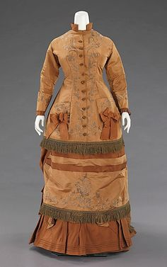 This dress was made from a paper pattern bought in Paris in 1874.  Extant garments created from the early days of this type of garment are rarely identifiable.  Sized paper patterns were introduced by Ebenezer Butterick (1826-1903) in 1863 and quickly spread to many different companies across the United States and Europe
