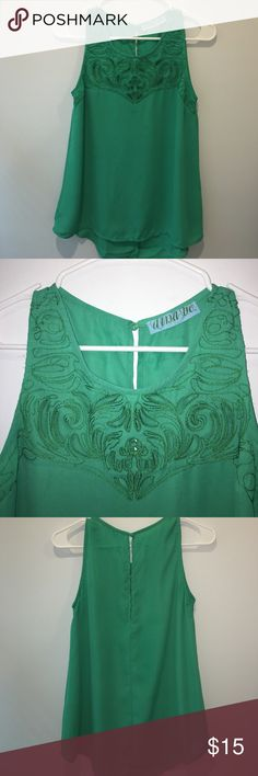 Francesca's S green flowy tank w/ front detail. Francesca's label aina be. Size small. Green flowy tank w/ front embroidered cutout detail. Lightly worn. Francesca's Collections Tops Tank Tops