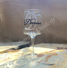 Personalized Wine Glass, Monogram Wine Glass, Wine Goblet, Gift for Her, Etched Glass, Etched Wine Glass by AnchorInCreativity on Etsy