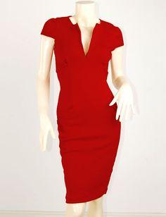 Red Retro Dita Mad Men Rockabilly Wiggle Pencil Ponti Soft Stretch Dress