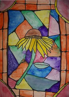 Black glue and watercolor for stained glass look.  I am loving the projects on Mrs. Browns Art pages