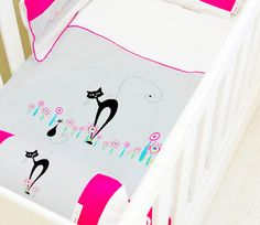 The Cats Whiskers  #cats#whiskers#pink#girl#nursery#babyroom#decor#interiordesign#decor#cotlinen#cot#linen#playroom#babeliciousdecor