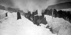 Tour Scotland Photographs: Old Photograph Train Stuck In Snow Dingwall Scotland