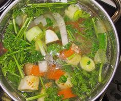 You need to know how to make a home made vegetable broth because the broth is needed for many German soups and dishes. It is so easy, so convenient.