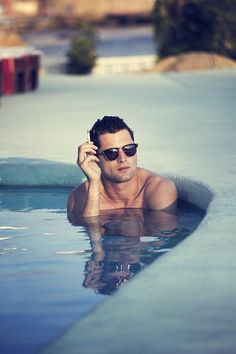 Sean O'Pry by Evelina Sollander - Winter 2013-2014 [ The arrogance of smoking in a pool, a place that is supposed to make one feel fresh, the nasty smell and the ashes ]
