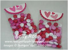 Tuesday, January 2011 Kelly Rose, Independent Stampin' Up! Demonstrator: Valentine Treat Bag with Petal Cone cuts Valentine Treats, Valentines For Kids, Valentine Day Cards, Valentine Stuff, Dulces Halloween, Mini Gift Bags, Decorated Gift Bags, Craft Show Ideas, Diy Ideas