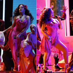 Rihanna pink dress Adam Selman Grammys 2018, Manolo Blahnik pumps