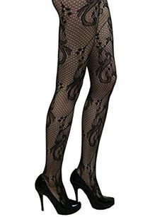1e263daf86b Yummy Bee Tights Semi Opaque Patterned Black Floral Striped Hearts Lace  Plus Size (Swirls)