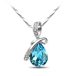 Amazon.com: T400 Jewelers Eternal Love Swarovski Elements Crystal Teardrop Pendant Necklace 45cm: Jewelry