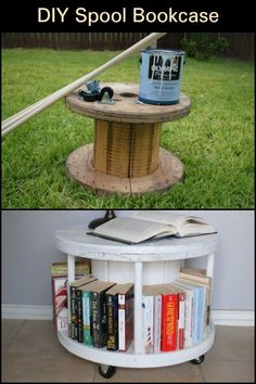 This recycled timber spool turned into bookcase can also be used as a coffee table, end table, or display table.