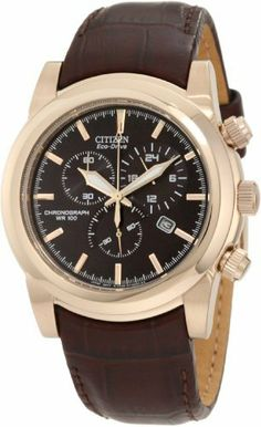 Citizen Men's AT0553-05E Eco-Drive Chronograph Watch Citizen. $242.95. Rose gold tone case with brown leather strap. Water-resistant to 100 M (330 feet). Mineral glass crystal. 60 minute chronograph. Eco-drive. Save 25%!