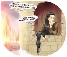 BATW inspired fanart: Loki imprisoned Rapunzel-style, Stark to the rescue! XD  >> Made by HumanSpecimen