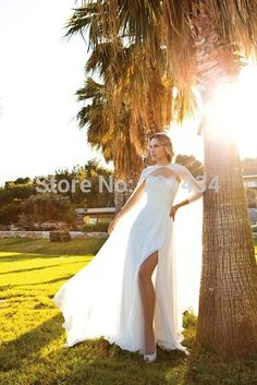 >> Click to Buy << Graceful Vintage Chiffon Beach Wedding Dresses 2016 Sexy Silt Side Count Train Dresses bridal vestido de noiva #Affiliate