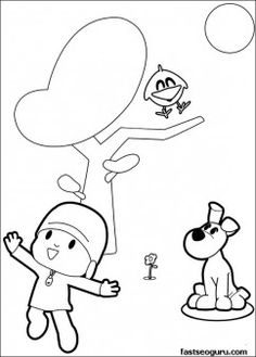 Printable coloring pages Pocoyo and Sleepy Bird singer a song - Printable Coloring Pages For Kids