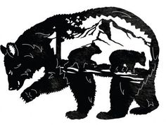 momma bear and cubs tattoo Animal Silhouette, Silhouette Art, Silhouette Cameo Projects, Mountain Silhouette, Stencil Art, Stencils, Bear Stencil, Cubs Tattoo, Wood Burning Patterns