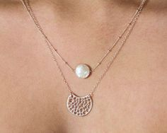 Moonlight Necklace. silver and pearl moon necklace with crescent moon double strand multi strand chain necklace