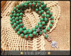 "Green Glass Tree of Life Baha'i Prayer Beads Prayer Beads (Full 95) ""Tree of Life"" by 9 Star Jewelry #Bahai #BahaiFaith #BahaiPrayerBeads #95Prayers #CrystalPrayerBeads #chantingbeads #BeadingAccessories #PrayerBeadsBracelet #BeadedNecklace #CustomPrayerBeads #CalmingBeads"