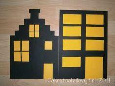 sinterklaasknutsel huizen in de nacht: leuk om op het raam te plakken
