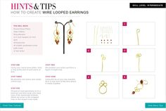 Jewellery making tutorials for beginners - How to create Wire Looped Earrings.