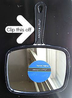 A back seat mirror can run you $10-20 on a regular day, but why spend all of that if you can spend $5 (or LESS) and make your own? I originally tried this out using hot glue, which I advise against (it melts) -- but now I've got all the kinks worked out, and this mirror works like a dream.