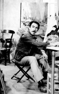 Anthony Quinn on the set of 'Lust for Life', 1956 - Quinn was an accomplished painter off screen as well.