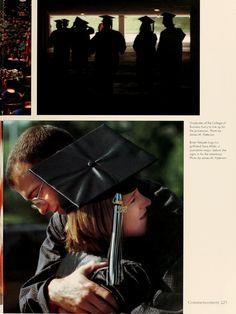 Athena Yearbook, 2002. Students hug before the undergraduate commencement ceremony. :: Ohio University Archives