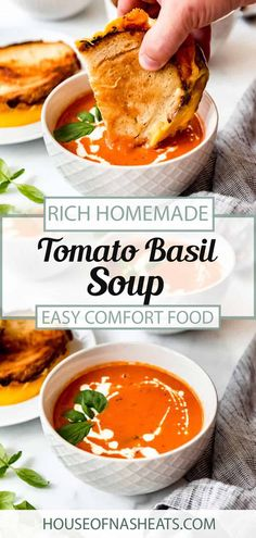 Ready in just an hour, this one pot Tomato Basil soup is bursting with flavor! You can use either fresh or canned tomatoes to whip up this easy, family friendly meal. Serve it with fresh basil and a grilled cheese sandwich on the side for a classic, comforting meal! #tomatosoup #basil #best #homemade #creamy #easy #fromscratch #soup #tomatoes