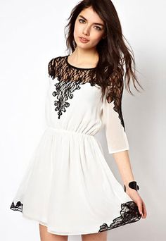 Black Lace Short Sleeve Skater Dress