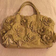 Light Green Nicole Lee Leather Floral Handbag Very cute. 3D leather flowers and tassels. Silver accents. Used, good condition. Nicole Lee Bags Hobos