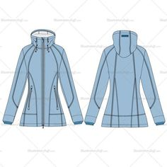 Women's raincoat fashion flat vector template in front and back sketches. This sketches are done in details with all the stitches zipper and pull.This file includes two pattern brush and zipper pulls. Its easy to change in any color and modify the style.