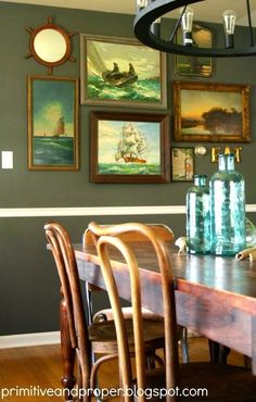 Decorating Nautical with Vintage Seascape Paintings: http://www.completely-coastal.com/2013/10/vintage-seascape-paintings-decorating-ideas.html