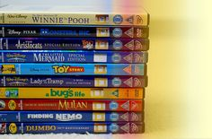 winnie the pooh, monsters inc, aristocats, the little mermaid, toy story, lady and the tramp, a bug's life, mulan, finding nemo and dumbo.<3