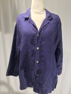 Nwt Chico's Design Womens Button Down 3/4 Sleeve Shirt Top Blouse Linen SZ 1 M #Chicos #ButtonDownShirt #Casual