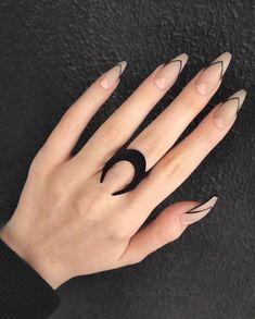 Most Beautiful Acrylic Nail Designs You must Try 42 - Nail art Edgy Nails, Chic Nails, Stylish Nails, Trendy Nails, Swag Nails, Grunge Nails, Black Nail Designs, Acrylic Nail Designs, Chevron Nail Designs