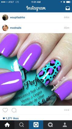 100 breathtaking ombre nails nails nails, purple nails и pur Teal Nails, Fancy Nails, Diy Nails, Fabulous Nails, Gorgeous Nails, Pretty Nails, Nail Lacquer, Nail Polish, Leopard Print Nails