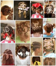 Little Girls hair, Some cute some funky...not sure if these would work with Aleks' curls, but super cute.