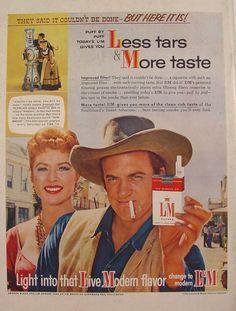 1958 Gunsmoke Amanda Blake & James Arness L&M Cigarettes Print Ad
